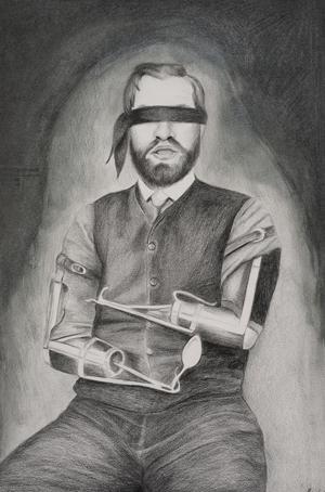 <p>Lisa Rainbird: <em>Blindfold</em>, 2014, wax pencil on Aquabee Bristol paper</p>