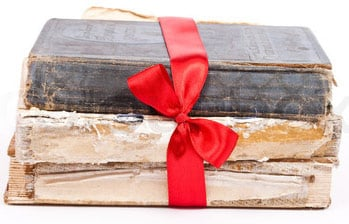 Books with red ribbon