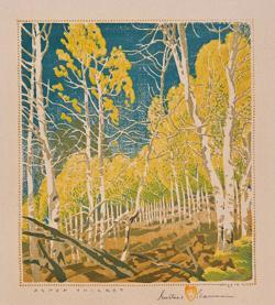 <p>Gustave Baumann: <em>Aspen Thicket</em>, 1943, color woodcut</p>