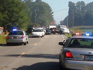 Multi-vehicle crash near Hwy 501, heavy smoke in area