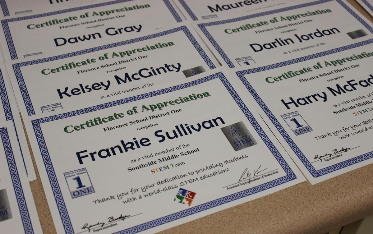 stem certificate district florence southside scnow received teacher middle each appreciation