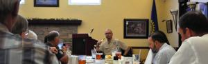 Javi Perez addresses the members of the Rotary Club of Homestead. The room was full and all were moved by the inspirational spirit Javi and his wife Maytee displayed in spite of this ordeal. The Rotary Club of Homestead gave the Perez family $2,500. to help with their medical and family expenses.