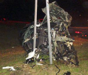 Pictured is what remains of a 1999 Chevrolet Geo Metro that collided with a semi truck Tuesday night.