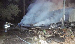 <p>A trailer on Highway 167 caught on fire and burned down on Monday night.</p>