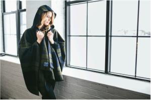 Hooded shadow plaid blanket cape