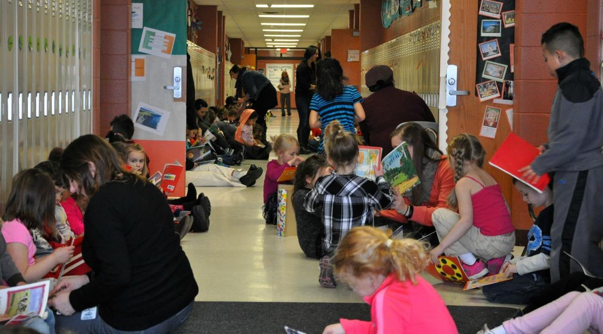 Hallways fill with students, staff and books during I Love to Read Month