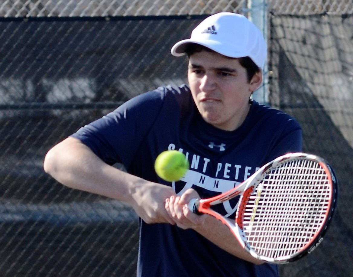 St. Peter boys tennis digs out of snow to shut out New Ulm 7-0