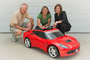 Helen Traetow of Owatonna wins Federated Insurance red toy corvette