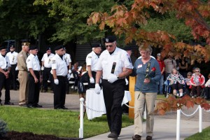 Escorted to the memorial
