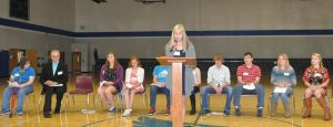 Ninth-graders present bullying poems to WIS students