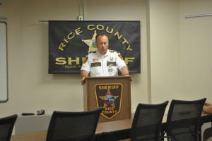 Rice County Sheriff Troy Dunn holds a press conference