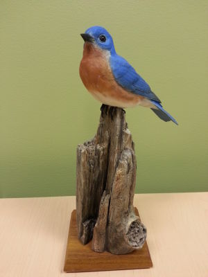 Hand-carved wooden bluebird
