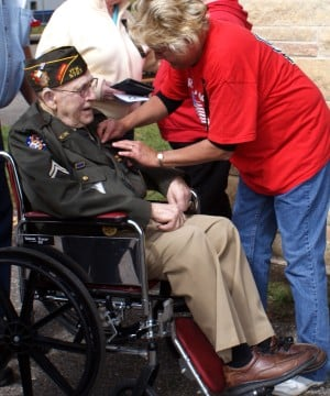 A veteran receives recognition