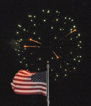 Fireworks and flag