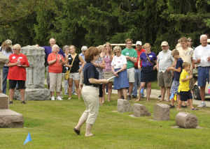 Deb Quaale led the cemetery walk at Gol