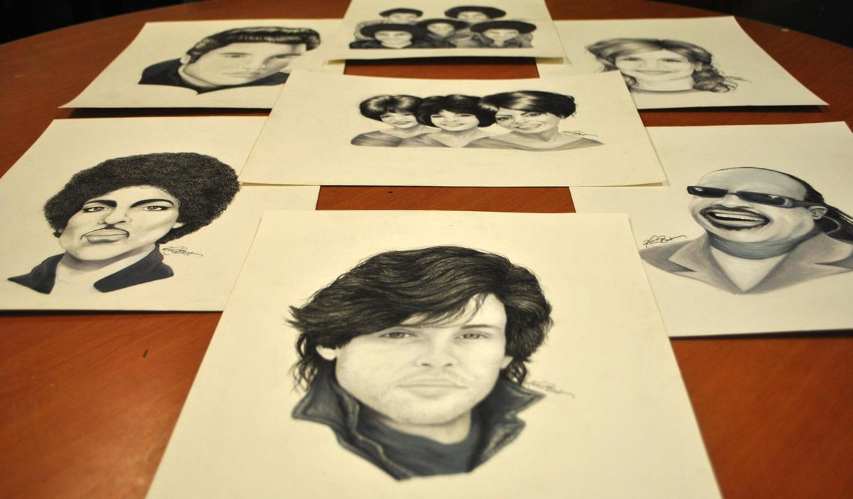 Art student draws realistic portraits for Northfield's Rock 'n' Roll Revival