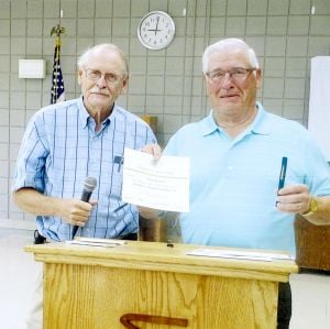 Kiwanis Club of Owatonna Golden K presents certificate of apprec
