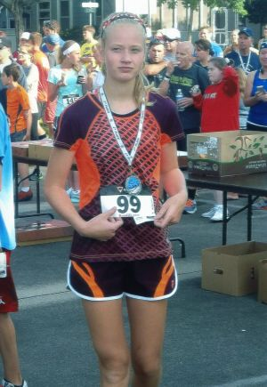 Spinler places in the 8K race for kids under 15 at the St. Peter 4th of July festivities