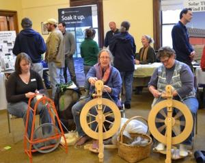 Earth Day celebration spinning wool