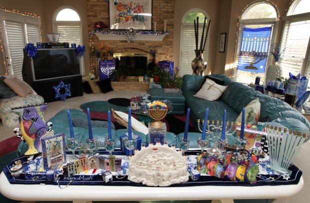 Hanukkah display fills the house lifestyles for Hanukkah home decorations