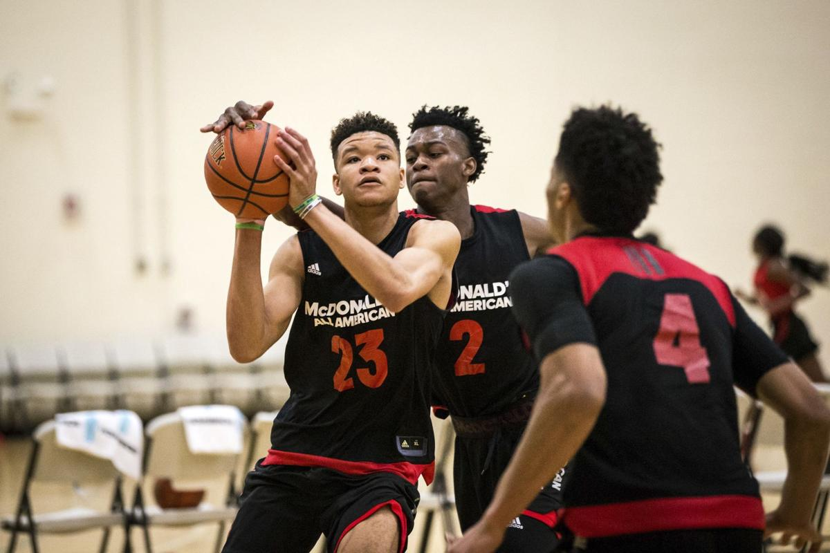 Tampa Catholic star Kevin Knox (23) drives to the basket during a ...