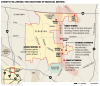 Events following the fatal shooting of Michael Brown map