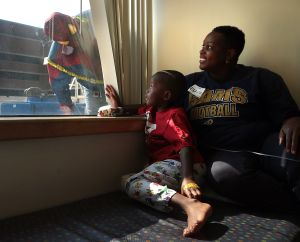 Two Spider-Men visit St. Louis Children's Hospital