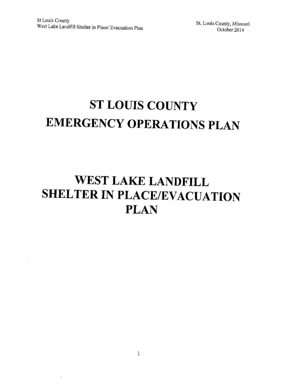St. Louis County Bridgeton Landfill emergency response plan