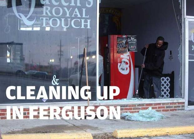 Cleanup begins after night of violence in Ferguson