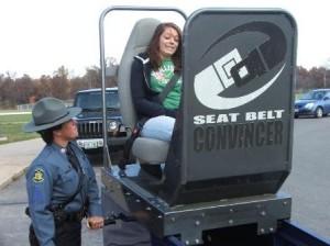 Car Crash Simulator Shows Seat Belt Effectiveness