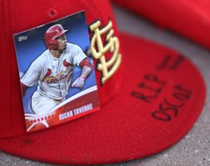 Impromptu memorial for Taveras at Busch