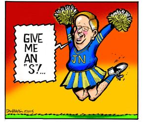 Editorial: On stadium, Nixon turns in his clipboard for pom-poms