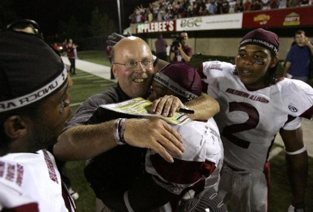 Jerry Kill, in a 2007 photo after is SIU Salukis upset Northern Illinois. (AP Photo)