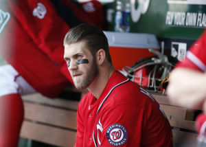 Bryce Harper dogs it; ends up on bench