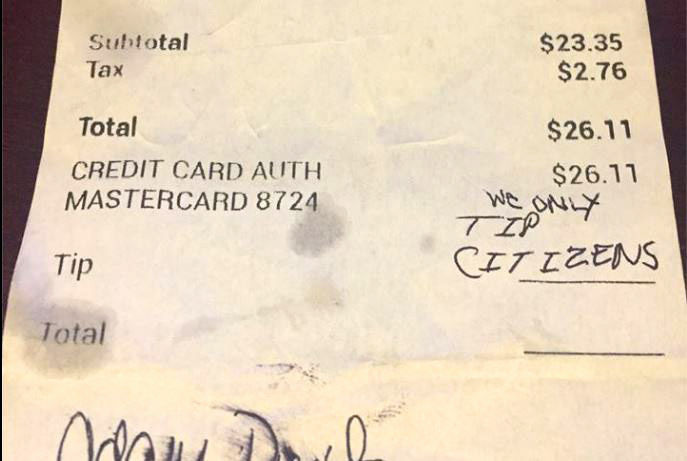 Latina waitress in Virginia gets racist message instead of tip