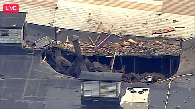 Damaged roof after explosion