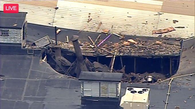 Damaged roof after explosion