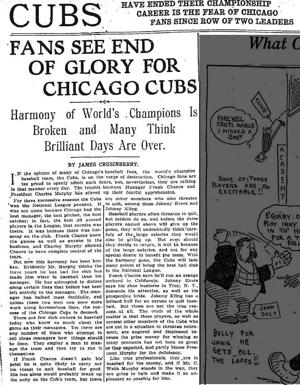 1908 Cubs article: Fans see end of glory for Chicago Cubs