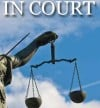 In court, scales of justice