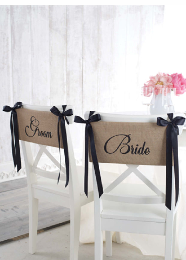 Product Pick Bride And Groom Burlap Chair Sash Stltoday