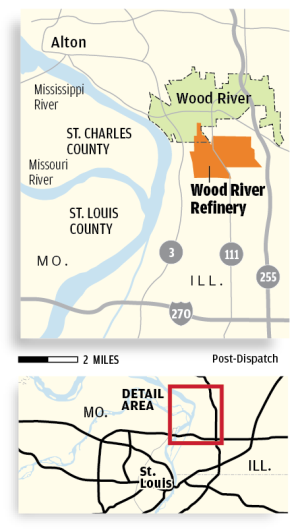 Phillips 66 estimates 25,000 gallons of diesel leaked near Wood River Refinery
