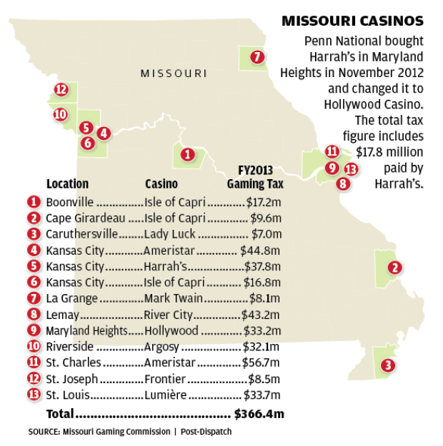 Missouri Casinos Map And Chart