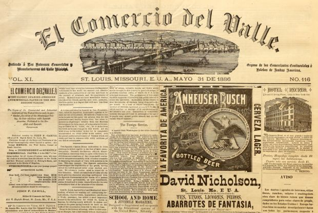 Copies Of 19th Century English Spanish Newspaper Published