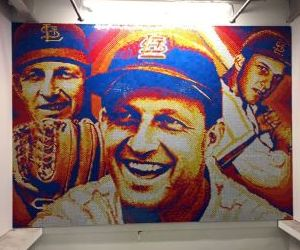 Priory senior twists nearly 6,000 Rubik's Cubes into mural of Stan Musial
