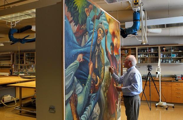 Mural segment is centerpiece of art museum 39 s joe jones for Mural joe painting