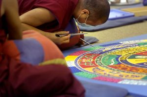 Buddhist monks here on Sacred Tibetan Arts Tour made stir on social media
