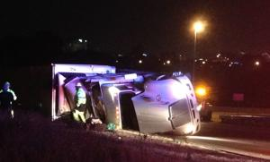 Photo: Truck overturns on Highway 40 ramp south of Forest Park
