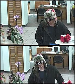 Robber in sunglasses and fuzzy plaid hat robs bank in Alton