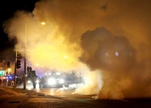 Monday arrests and protests in Ferguson