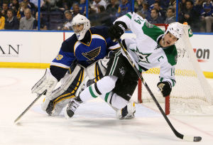 Blues lose in overtime to Stars 3-2
